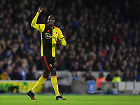 Football - 2019 / 2020 Premier League - Brighton & Hove Albion vs. Watford<br /> <br /> Watford's Abdoulaye Doucoure celebrates scoring the opening goal, at the Amex Stadium.<br /> <br /> COLORSPORT/ASHLEY WESTERN