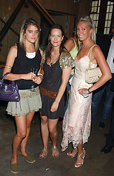 Left to right, MISS VIOLET VON WESTENHOLTZ, ARABELLA MUSGRAVE and MISS OLIVIA BUCKINGHAM at a polo players party hosted by AJM International Publishing and Cartier celebrating the 21st anniversary of the Cartier International Polo held at The Collection, London SW3 on 19th July 2005.<br />