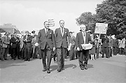 03/07/1963<br /> 07/03/1963<br /> 03 July 1963<br /> RGDATA Turnover Tax Protest March in Dublin. Picture shows RGDATA delegates who marched through Dublin to Government Buildings to present their protest to against the proposed Turnover Tax to the Minister for Finance, (l-r): Mr Leo Keogh. General Secretary, RGDATA; Mr P.J. Cleary, President RGDATA and Mr S. O'Beirne (Scariffe) Vice President of RGDATA.