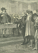 Oliver Cromwell (1599-1658) English statesman. Lord Protector (1653-1658). Cromwell refusing the crown, 1657. Engraving c1885.