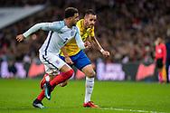 Brazil (8) Renato Augusto, England (2) Kyle Walker during the International Friendly match between England and Brazil at Wembley Stadium, London, England on 14 November 2017. Photo by Sebastian Frej.