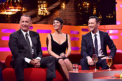 (left to right) Tom Hanks, Gemma Arterton and Joseph Gordon-Levitt during filming of the Graham Norton Show at The London Studios, south London, to be aired on BBC One on Friday evening.