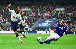 Harry Kane of Tottenham Hotspur shot is blocked by Sean Morrison of Cardiff City - Mandatory by-line: Alex James/JMP - 06/10/2018 - FOOTBALL - Wembley Stadium - London, England - Tottenham Hotspur v Cardiff City - Premier League