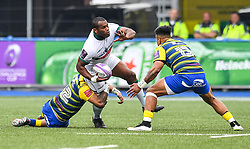 Pau's Watisoni Votu is tackled by Cardiff Blues' Willis Halaholo<br /> <br /> Photographer Craig Thomas/Replay Images<br /> <br /> European Rugby Challenge Cup Round Semi final - Cardiff Blues v Pau - Saturday 21st April 2018 - Cardiff Arms Park - Cardiff<br /> <br /> World Copyright © Replay Images . All rights reserved. info@replayimages.co.uk - http://replayimages.co.uk