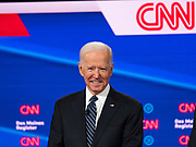 "14 JANUARY 2020 - DES MOINES, IOWA: Former Vice President JOE BIDEN on stage during the ""photo spray"" at the CNN Democratic Presidential Debate on the campus of Drake University in Des Moines. This is the last debate before the Iowa Caucuses on Feb. 3.    PHOTO BY JACK KURTZ"
