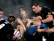 2004/05 Zurich Premiership, London Wasps vs Bath. Causeway Stadium, High Wycombe, ENGLAND:<br /> Wasps locks, Richard Birkett [left and cap] and Simon Shaw, watch as debutant Wasps scrum half, Warren Fury, collects the ball.<br /> Photo  Peter Spurrier. <br /> email images@intersport-images