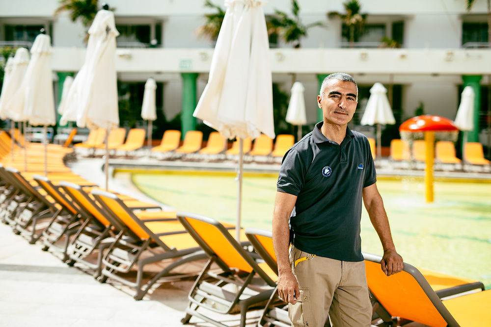 Amer Katish, 47, a Jordanian employee from Aqaba, poses for a portrait at Club Hotel Eilat, a suites hotel in Eilat, southern Israel, on March 15, 2018.