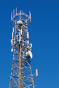 Urban provincial  cellular, microwave and telecom communications systems lattice tower in Port Macquaire, New South Wales, Australia. <br /> <br /> Editions:- Open Edition Print / Stock Image
