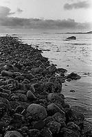 Svarte steiner i fjøra på Kvalneset på Giske.<br /> Foto: Svein Ove Ekornesvåg