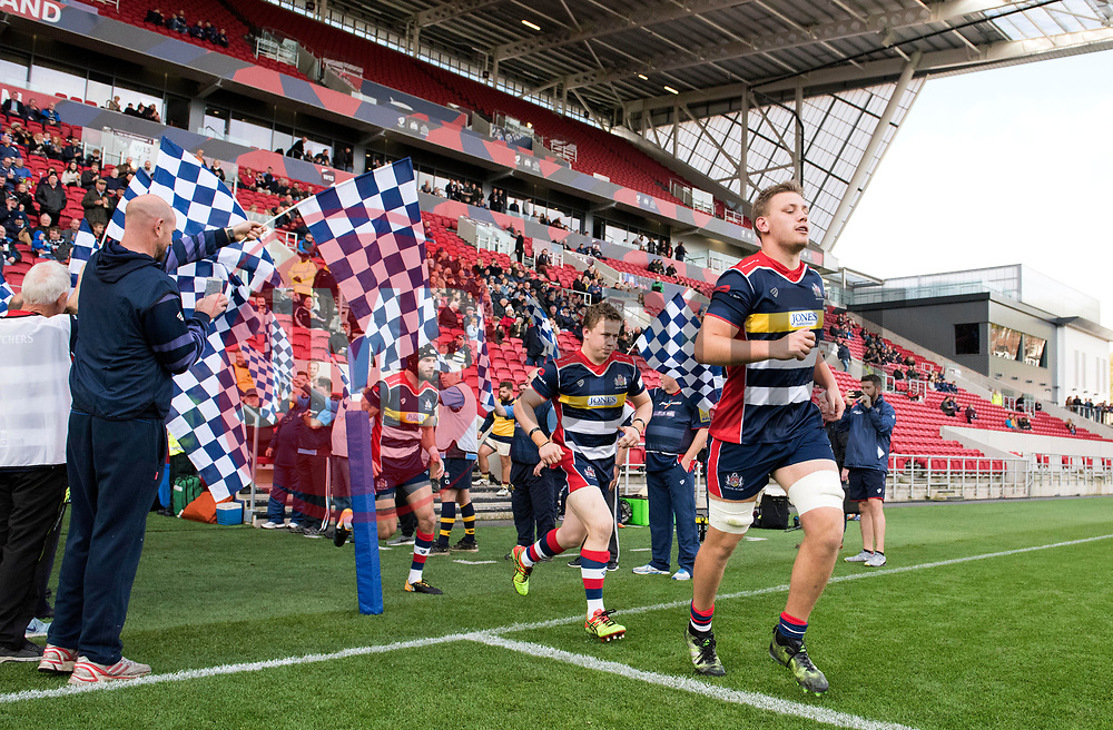 Bristol Rugby players run out at Ashton Gate Stadium - Mandatory by-line: Paul Knight/JMP - 22/10/2017 - RUGBY - Ashton Gate Stadium - Bristol, England - Bristol Rugby v Doncaster Knights - B&I Cup