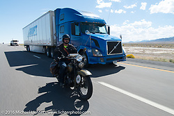Marcin Grela of Poland riding his 1936 Harley-Davidson VLH during stage 12 (299 m) of the Motorcycle Cannonball Cross-Country Endurance Run, which on this day ran from Springville, UT to Elko, NV, USA. Wednesday, September 17, 2014.  Photography ©2014 Michael Lichter.