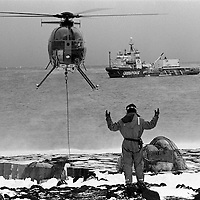 Greenpeace Antarctica Expedition 1989/90.  Resupply of World Park  Base.  MV GONDWANA in background.  Cape Evans.  Accession #: 1.89.003.160.06