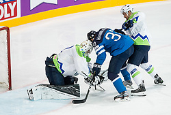 Markus Hannikainen of Finland vs Gasper Kroselj of Slovenia and Klemen Pretnar of Slovenia during the 2017 IIHF Men's World Championship group B Ice hockey match between National Teams of Finland and Slovenia, on May 10, 2017 in AccorHotels Arena in Paris, France. Photo by Vid Ponikvar / Sportida