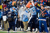 NASHVILLE, TN - DECEMBER 7:   Head Coach Jeff Fisher of the Tennessee Titans has water dumped on him to celebrate winning the AFC South during a game against the Cleveland Browns at LP Field on December 7, 2008 in Nashville, Tennessee.  The Titans defeated the Jaguars 28-9.  (Photo by Wesley Hitt/Getty Images) *** Local Caption *** Jeff Fisher