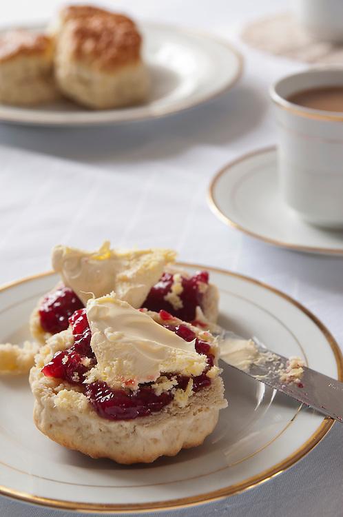 Afternoon Tea. Scones, Jam, Clotted Cream & Tea.