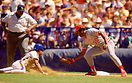 QUEENS, NY - 1989:  Ken Griffey Sr. of the Cincinnati Reds fields during an MLB game at Shea Stadium during the 1989 season.  (Photo by Ron Vesely) Subject:   Ken Griffey Sr.