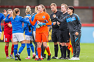 Thanking each other at the end of the FA Women's Super League match between Brighton and Hove Albion Women and BIrmingham City Women at The People's Pension Stadium, Crawley, England on 6 September 2020.