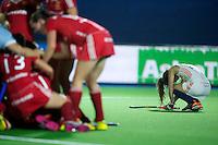 BOOM - Teleurstelling bij Roos Drost na haar gemiste shoot-out tijdens de halve finale van het EK hockey tussen de vrouwen van Nederland en Engeland (1-1) Engeland wint na shoot out. ANP KOEN SUYK