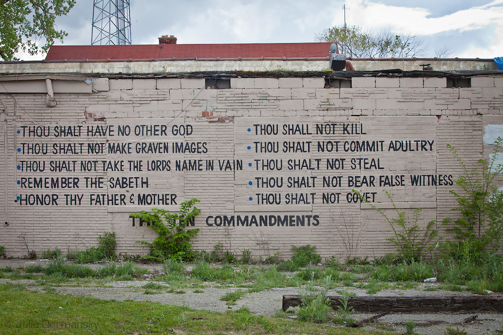 !0 commandments painted on the wall of a building in Detroit.