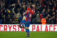 James McArthur of Crystal Palace celebrates with teammate Scott Dann of Crystal Palace after scoring his teams 2nd goal.  Premier League match, Crystal Palace v Watford at Selhurst Park in London on Tuesday 12th December 2017. pic by Steffan Bowen, Andrew Orchard sports photography.