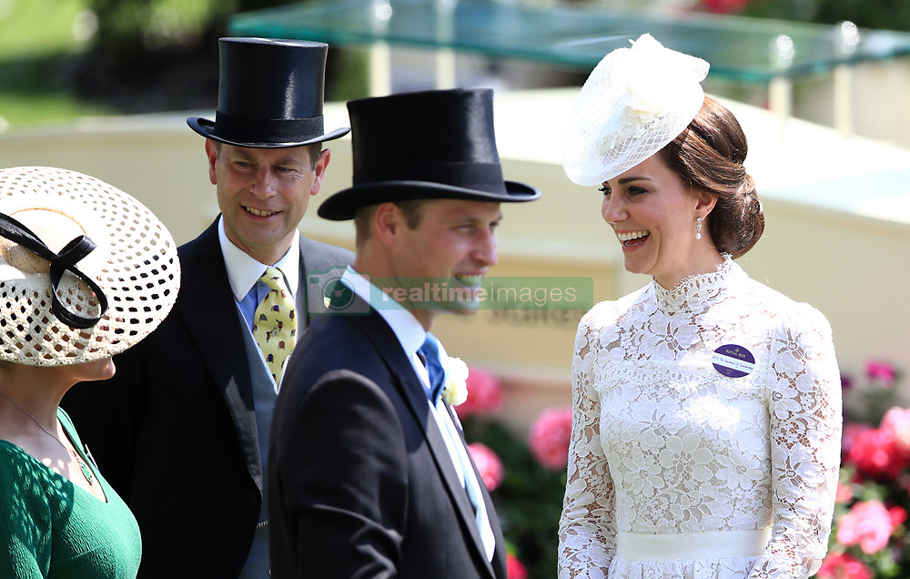 The Duchess of Cambridge with The Earl of Wessex (left) and The Duke of Cambridge during day one of Royal Ascot at Ascot Racecourse.