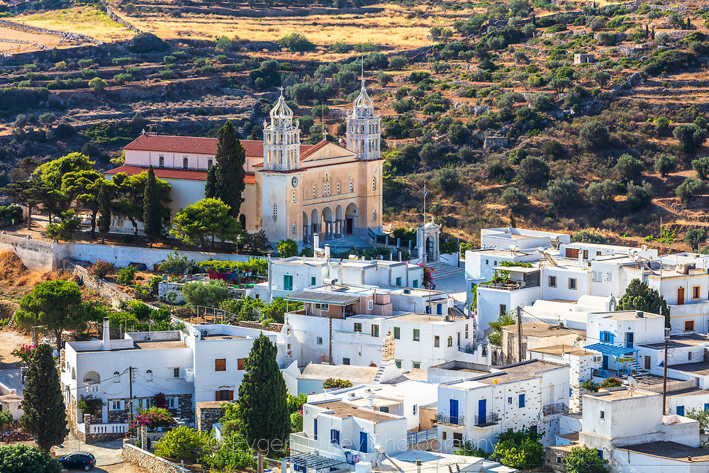 Lefkes, Paros, Greece - July 2021: The Ascension of Jesus Christ church