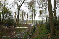 Wendover, UK. 4th May, 2021. A section of ancient woodland at Jones Hill Wood in the Chilterns AONB to the left of the fencing is currently being cleared for the HS2 high-speed rail link by contractors working on behalf of HS2 Ltd. Felling of the woodland, which contains resting places and/or breeding sites for pipistrelle, barbastelle, noctule, brown long-eared and natterer's bats and is said to have inspired Roald Dahl's Fantastic Mr Fox, recommenced after a High Court judge refused an application for judicial review and lifted an injunction.