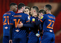 Blackpool's Jerry Yates celebrates scoring the opening goal with teammates<br /> <br /> Photographer Alex Dodd/CameraSport<br /> <br /> The EFL Sky Bet League One - Doncaster Rovers v Blackpool - Tuesday 24th November 2020 - Keepmoat Stadium - Doncaster<br /> <br /> World Copyright © 2020 CameraSport. All rights reserved. 43 Linden Ave. Countesthorpe. Leicester. England. LE8 5PG - Tel: +44 (0) 116 277 4147 - admin@camerasport.com - www.camerasport.com