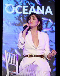 "**EXCLUSIVE** Date: July 21st 2018 Katherine McPhee shows off her huge engagement ring as she performs at the Oceana SeaChange Summer Party in Laguna Niguel,CA. The actress opened up to the crowd saying she was ""very happy in her relationship"" before singing 'Over The Rainbow' mentioning that she met her now fiancee, David Foster, for the first time when he produced a version of the famous song for her. 21 Jul 2018 Pictured: Katherine McPhee. Photo credit: MOVI Inc. / MEGA TheMegaAgency.com +1 888 505 6342"