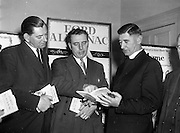 17/12/1959<br /> 12/17/1959<br /> 17 December 1959<br /> Presentation of Ford Farm and Home Almanac at the Shelbourne Hotel, Dublin. 2,250 Almanacs were presented to Agricultural Schools, Colleges, Universities and Macra na Feirme by Henry Ford and Son Ltd. Cork. Picture shows Mr C.F.J. Brooke-Harte, (left) Director and General Sales Manager Messrs Henry Ford and Son Ltd., Cork, discussing the Ford Almanac with  almanac to Dr. J.B. Ruane, Professor of Farm Management Faculty of Agriculture, UCD and v. Rev. P. Collins, S.D.B., Principal, Warrenstown Agricultural College, who would arrange distribution of the Almanac to their students.