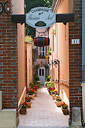 A small alleyway in the village decorated with colourful flowers and a sign saying Champagne Thoirain-Noel and the number 21, the village of Hautvillers in Vallee de la Marne, Champagne, Marne, Ardennes, France