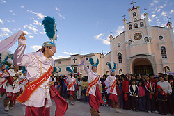 "Dancers perform outside cathedral in annual festival of ""El Senor de las Soledad,"" Huaraz, Peru, South America"