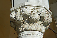 The 14th Century Gothic style column capitals of The Doge's Palace on St Marks Square, Palazzo Ducale, Venice Italy .<br /> <br /> Visit our ITALY HISTORIC PLACES PHOTO COLLECTION for more   photos of Italy to download or buy as prints https://funkystock.photoshelter.com/gallery-collection/2b-Pictures-Images-of-Italy-Photos-of-Italian-Historic-Landmark-Sites/C0000qxA2zGFjd_k<br /> <br /> <br /> Visit our MEDIEVAL PHOTO COLLECTIONS for more   photos  to download or buy as prints https://funkystock.photoshelter.com/gallery-collection/Medieval-Middle-Ages-Historic-Places-Arcaeological-Sites-Pictures-Images-of/C0000B5ZA54_WD0s