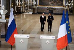 May 30, 2017 - Versailles, France - Emmanuel Macron recoit Vladimir Poutine à Versailles dans le cadre d'une visite de travail - Versaillles - 29/05/2017 (Credit Image: © Visual via ZUMA Press)