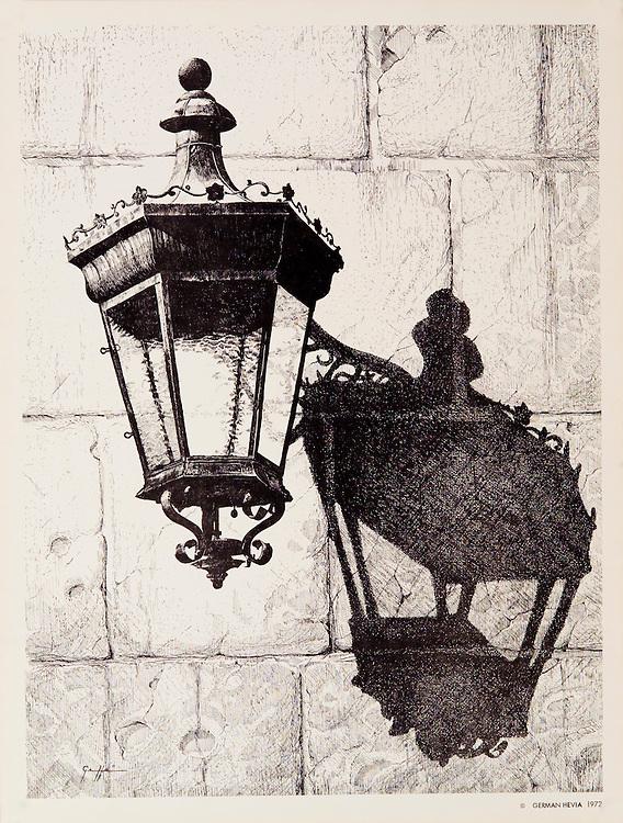 """Cat. #8 - Lithographic print of Pen and Ink drawing of a typical lantern found in the ancient cities throughout the Caribbean. This drawing is based on one in Old San Juan, Puerto Rico. Printed on heavy, smooth paper.<br /> Paper size is 9 7/8x13"""". Image size is approximately 9x12"""" <br /> Cat. #8 - Impresión litográfica de un dibujo a plumilla de un farol típico que se encuentran en las antiguas ciudades coloniales en todo el Caribe . Este farol esta ubicado en el Viejo San Juan, Puerto Rico. Impreso en papel grueso y liso.<br /> Tamaño del papel es 9 7/8x13"""". Tamaño de la imagen es aproximadamente 9x12"""""""