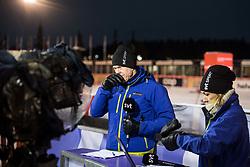 November 25, 2017 - Ruka, Finland - 171125 Mathias Fredriksson och Yvette Hermundstad i SVT:s Vinterstudion under vÅrldscuppremiÅren i skidor den 25 november 2017 i Ruka  (Credit Image: © Petter Arvidson/Bildbyran via ZUMA Wire)