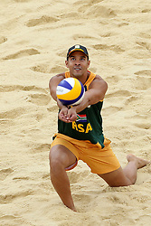 Grant Goldschmidt of South Africa during the preliminary phase - Pool D Beach Volleyball match between Poland and South Africa held at the Horse Guards Parade Stadium in London as part of the London 2012 Olympics on the 1st August 2012..Photo by Ron Gaunt/SPORTZPICS
