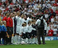 Photo: Tony Oudot.<br /> England v Estonia. UEFA European Championships Qualifying. 13/10/2007.<br /> England players sing along to the national anthem
