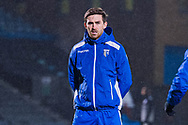 Gillingham FC defender Robbie McKenzie (14) warms up before the EFL Sky Bet League 1 match between Gillingham and Crewe Alexandra at the MEMS Priestfield Stadium, Gillingham, England on 26 January 2021.