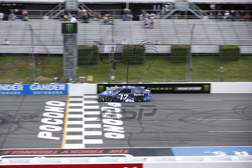 Ricky Stenhouse, Jr (17) takes to the track to practice for the Pocono 400 at Pocono Raceway in Long Pond, Pennsylvania.