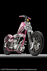 """""""Pipe Hitter"""", a pink shovelhead chopper built by Nick Pensabene of Mad Pen Cycles in Edgewater, FL. Photographed by Michael Lichter in Sturgis, SD on August 2 2017. ©2017 Michael Lichter."""