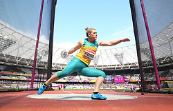 Australia's Dani Stevens competes in the Women's Discus Throw Qualifying during day eight of the 2017 IAAF World Championships at the London Stadium