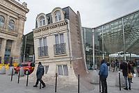 Gare du Nord, Paris with the sculpture Angel Bear by artist Richard Texier.