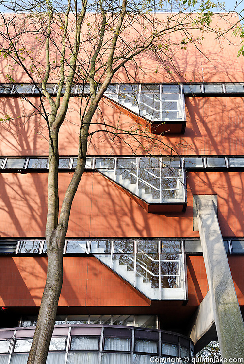 Florey Building, Queens College, Oxford University, Designed by James Stirling Architect, Completed 1966