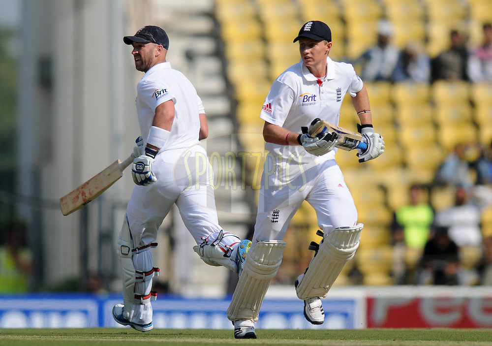 Matt Prior of England and Joe Root of England run between the wickets during day two of the 4th Airtel Test Match between India and England held at VCA ground in Nagpur on the 14th December 2012..Photo by  Pal Pillai/BCCI/SPORTZPICS .