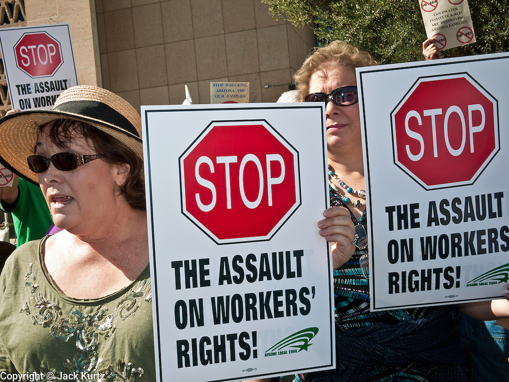09 FEBRUARY 2012 - PHOENIX, AZ:   Union members at an American Federation of State, County, and Municipal Employees (ASCME) press conference Thursday. About 150 people, mostly union members but also some unemployed and members of the Occupy movement, were at the State Capitol in Phoenix, AZ, Thursday to announce their opposition to Arizona Senate Bills 1484, 1485, 1486 and 1487 all of which would restrict the way public employee unions operate in Arizona.  PHOTO BY JACK KURTZ