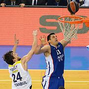 Anadolu Efes's Milko Bjelica (R) during their Turkish Airlines Euroleague Basketball Top 16 Round 7 match Anadolu Efes between Fenerbahce Ulker at Abdi ipekci arena in Istanbul, Turkey, Friday 13 February, 2015. Photo by Aykut AKICI/TURKPIX