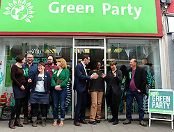 © Licensed to London News Pictures. 10/04/2015.Bristol, City of Bristol. Green Party MP from brighton, Caroline Lucas, visits Bristol West Candidate Darren Hall at the opening of the Green Party Shop on GlouchesterRoad.<br /> <br /> Candidates; Deb Joffe, Gus Hoyt, Anna McMullen, Simon Stafford-Townsend, Ani Stafford-Townsend, Darren Hall, Caroline Lucas and Justin Quinnell<br /> <br />  Photo credit : Jon Kent/LNP