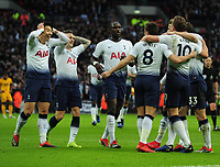 Football - 2018 / 2019 Premier Leagues - Tottenham Hotspur vs Wolverhampton Wanderers<br /> <br /> Harry Kane of Spurs celebrates his first half goal with Kieran Trippier and Heung - Min Son (left) at Wembley Stadium.<br /> <br /> Credit: COLORSPORT/ANDREW COWIE