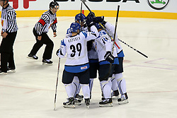 12.05.2011, Orange Arena, Bratislava, SVK, IIHF 2011 World Championship, Finnland vs Norway, im Bild TEAM FINLAND CELEBRATES GOAL. EXPA Pictures © 2011, PhotoCredit: EXPA/ EXPA/ Newspix/ .Tadeusz Bacal +++++ ATTENTION - FOR AUSTRIA/(AUT), SLOVENIA/(SLO), SERBIA/(SRB), CROATIA/(CRO), SWISS/(SUI) and SWEDEN/(SWE) CLIENT ONLY +++++